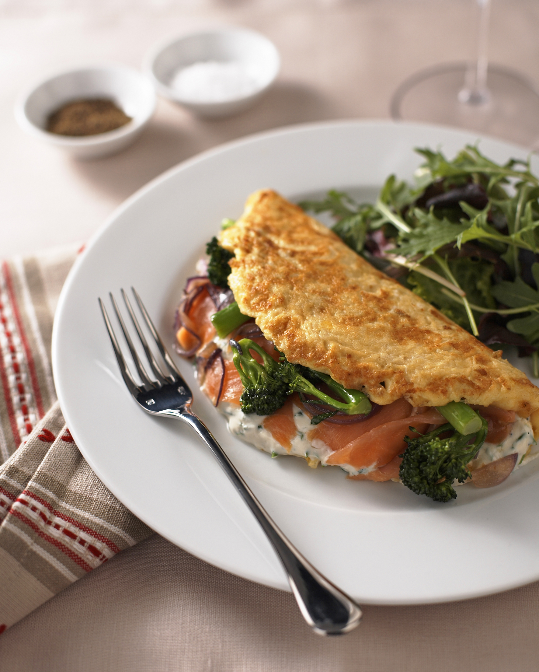 Articles Food Fish Dishes Tenderstem Smoked Salmon Omelette