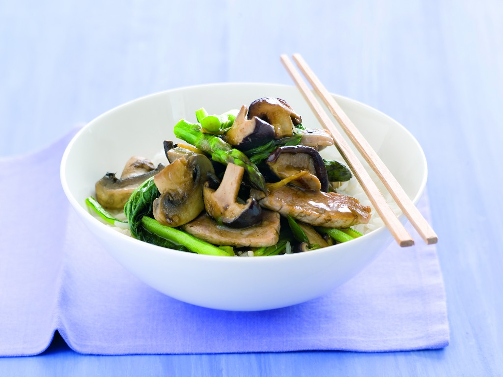 This mushroom, pork and asparagus stir fry is quick and easy to make ...