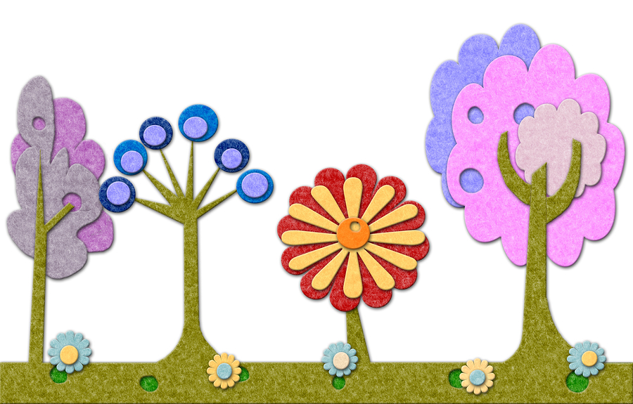 bigstock-Felt-Trees-And-Flowers-Backgro-21961994