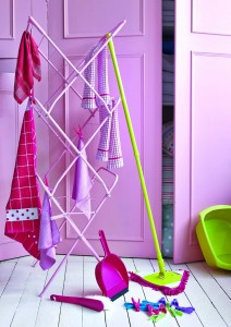 Raspberry Spectrum Collection Dustpan and Brush, £2.09, slim 3-tier indoor airer, £9.99, Cookshop collection hand towel, £2.49; Minky pegs, £2.49, Dunelm.