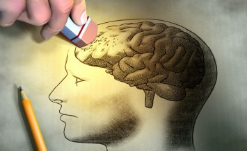 Someone is erasing a drawing of the human brain. Conceptual imag