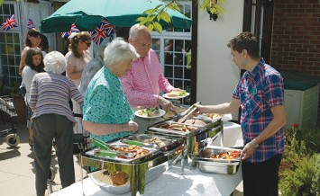 Residents at barbecue