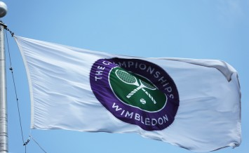 The Wimbledon championship flag at Billie Jean King National Ten