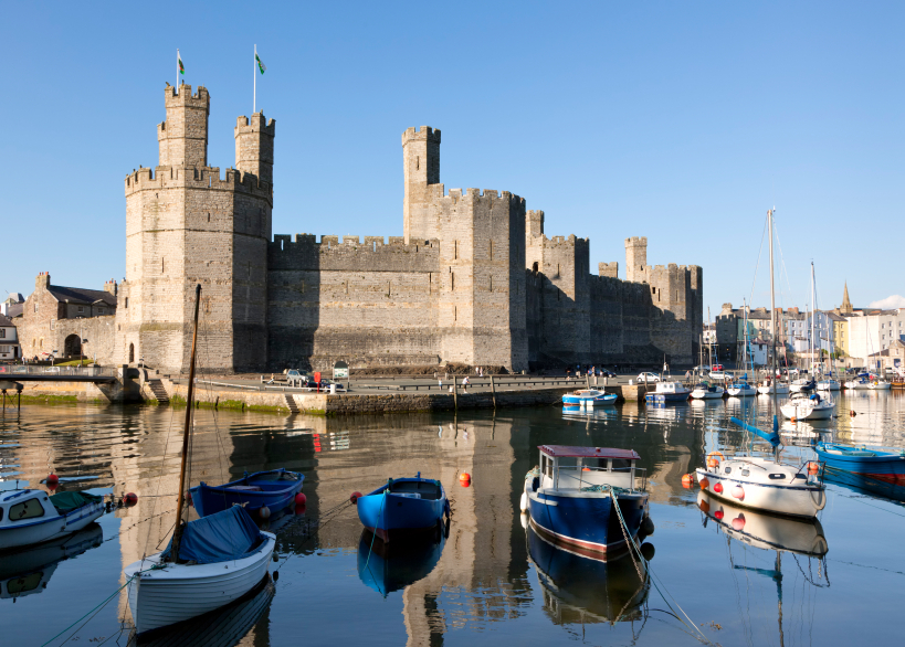Castle and marina at Caernarfon