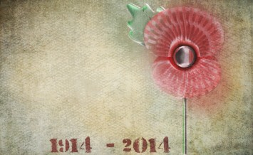 Graffiti style remembrance day poppy on grunge background. Dates
