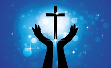 Person Praying Or Worshiping To Holy Cross Or Jesus- Vector Grap