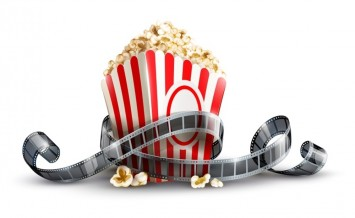 paper bag with popcorn and movie reel vector illustration isolat