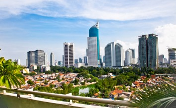 Panoramic cityscape of Indonesia capital city Jakarta at suny da