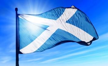Scotland flag waving on the wind