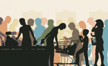 Editable vector colorful illustration of people in checkout queu