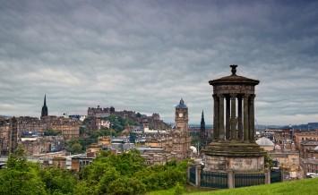 view on Edinburgh skyline with Edinburgh Castle and  Scotts Monu