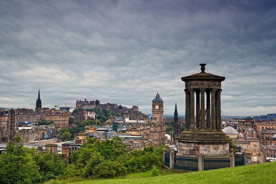 view on Edinburgh skyline with Edinburgh Castle and Scotts Monu