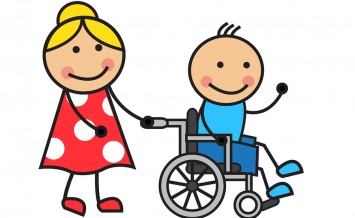 Cartoon man on a wheelchair