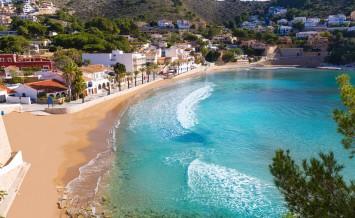 Moraira playa el Portet beach high angle view in Mediterranean A