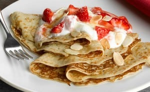 Strawberry, Toasted Almond and Caramel Pancakes