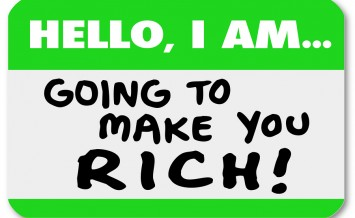A namtag sticker with the words Hello I Am Going to Make You Ric