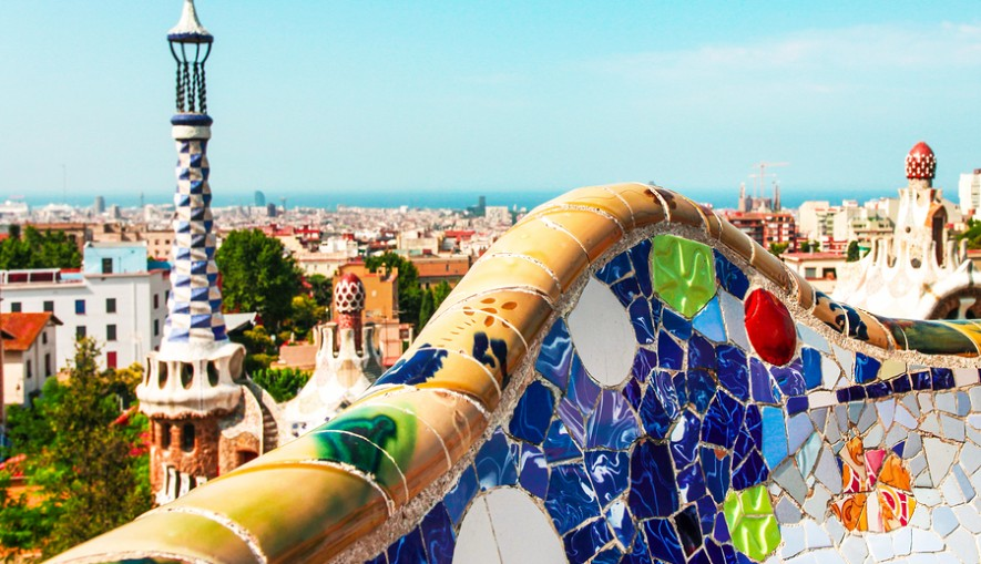 BARCELONA, SPAIN - JULY 19: Ceramic mosaic Park Guell on July 19