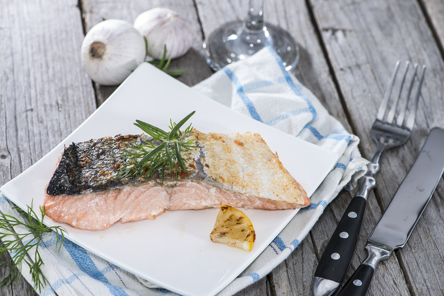 Foil poached-salmon with dill