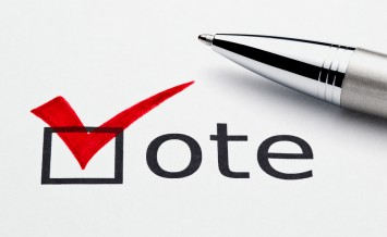 Red Checkmark In Vote Checkbox, Pen Lying On Ballot Paper
