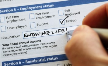 Writing retired and enjoying life on an application form concept