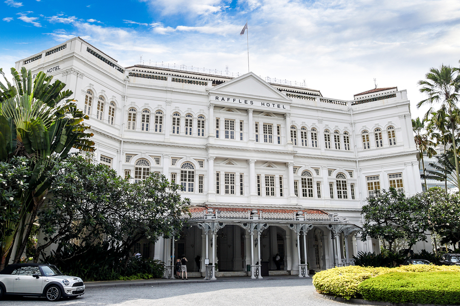 The colonial-style Raffles Hotel in Singapore