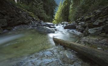 A look down Murdo creek as it drops into McDonald Falls, Mission, BC, Canada