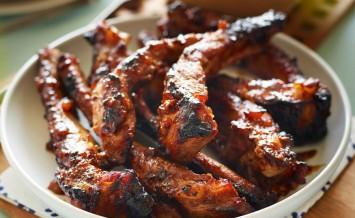 BBQ Spiced Marmalade Glazed Pork Ribs with Fresh Radish Salad