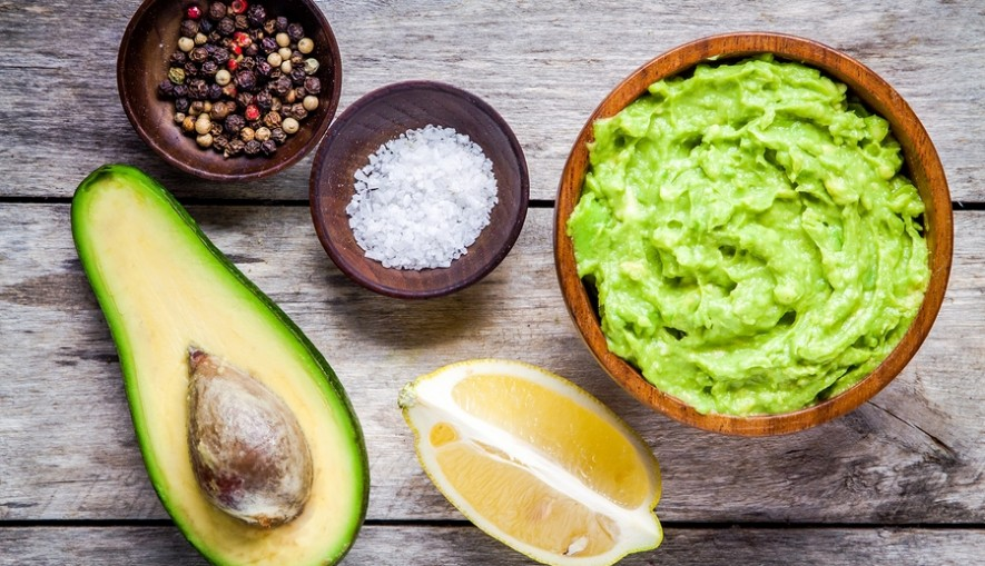 Ingredients For Homemade Guacamole: Avocado, Lemon, Salt And Pep