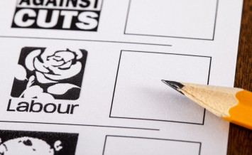 LONDON UK - MAY 7TH 2015: The Labour Party on a UK Ballot Paperfor a General Election on 7th May 2015.