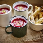 Beetroot & butternut squash soup with Godminster soldiers