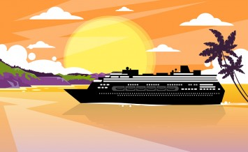 Cruise Ship Liner Tropical Island Sunset Orange Sky Summer Ocean Vaction Flat Vector Illustration