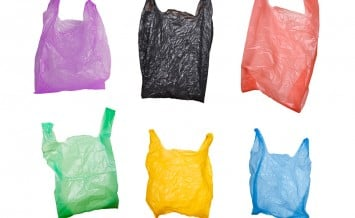 Collection of various plastic bags isolated on white