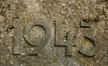 Year 1943 carved in the stone. The years of World War II.