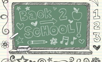 Hand-Drawn Back to School Chalkboard / Blackboard Sketchy Notebook Doodles with Lettering, Apple, Pencil & Music Notes. Vector Illustration Design Elements on Lined Sketchbook Paper Background