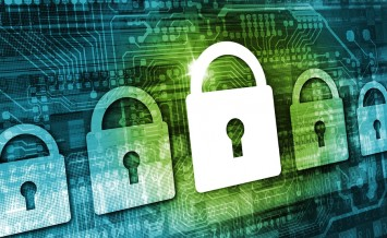 Online Data Security Concept Illustration with Padlock Icons Cyber Background and Circuit Board Elements. Internet Security Technologies.