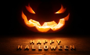Spooky Halloween background with jack o lantern - Happy Hallowee