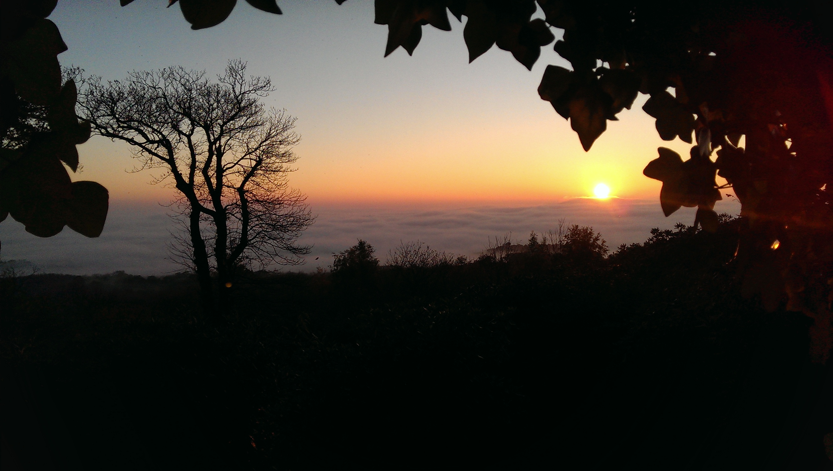 Sunset over foggy Cranleigh and Dunsfold