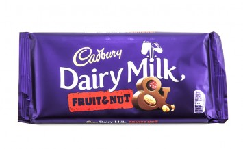 SWINDON UK - FEBRUARY 8 2014: Bar of Cadburys Dairy Milk Fruit and Nut chocolate