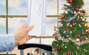 Boarding Pass At The Airport On Christmas