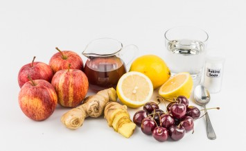 Common home remedy to treat gout inflammation - Cherries, Lemon Juice, Apple Cider Vinegar, Ginger Roots, Baking Soda.