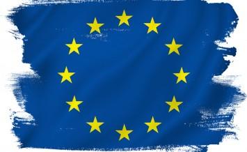 EU European Union flag backdrop background texture.