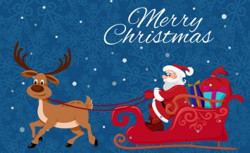 Merry Christmas greeting card template. Santa Claus and the deer. Vector flat illutration for Christmas design.