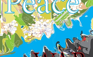 Illustration of words Peace and War written over a map, concept of modern war and conflicts