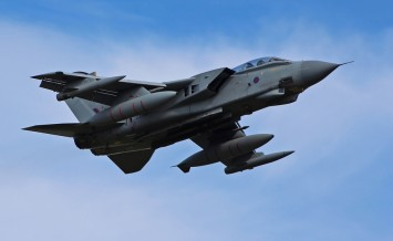 MORAYSHIRE, SCOTLAND - 21 JUNE: RAF Tornado jet fighter aircraft overflying its base during routine exercises at Lossiemouth, in Morayshire, Scotland on 21 June 2012.