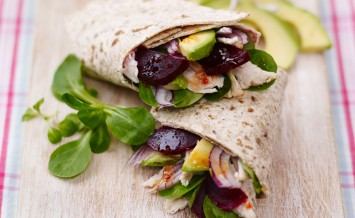 sweet-chilli-infused-beetroot-and-turkey-wraps