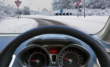 Car drivers view through the vehicle windscreen whilst driving o