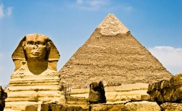 The great sphinx of giza guarding the great pyramid in egypt