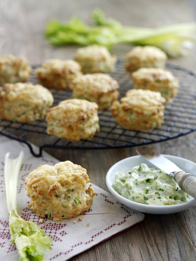 cheese, fenland celery and walnut scones served with parsley butter and fenland celery sticks-christmas