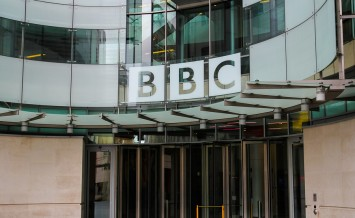 LONDON UK - 5TH APRIL 2014: The outside of a BBC building in central London