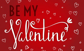 Be my Valentine inscription on red background with white hearts. Design element for Valentine day card, banner, wedding invitation, postcard. Vector illustration.